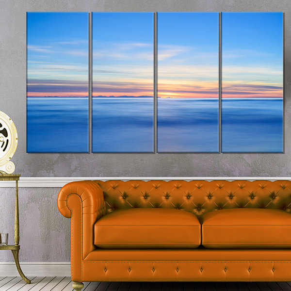 Designart Corsica Island Sunset View Italy ExtraLarge Seashore Canvas Art - 4 Panels