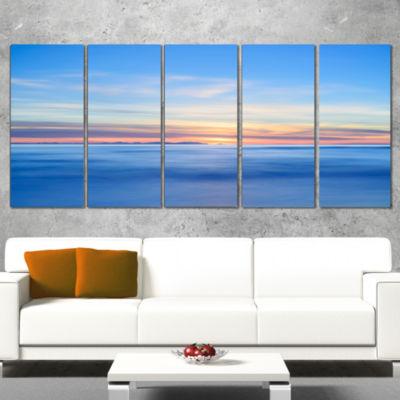 Designart Corsica Island Sunset View Italy ExtraLarge Seashore Wrapped Canvas Art - 5 Panels