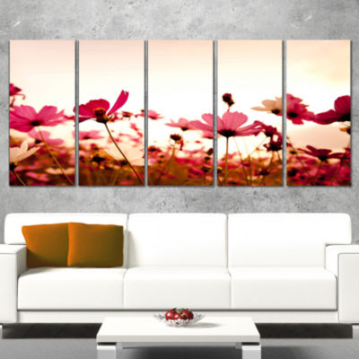 Cosmos Flowers On Pink Background Floral Canvas Art Print - 4 Panels
