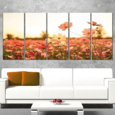 Designart Cosmos Flowers On Sunset Background Floral Canvas Art Print - 5 Panels