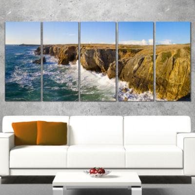 Designart Cote Sauvage Bretagne France Large Seascape Art Canvas Print - 4 Panels
