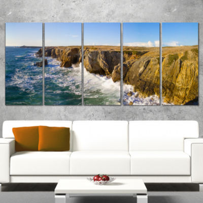 Cote Sauvage Bretagne France Large Seascape Art Canvas Print - 5 Panels
