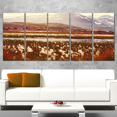 Designart Cotton Flowers With Hills On BackgroundFloral Canvas Art Print - 5 Panels