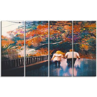 Designart Couple Walking Holding Hands LandscapeArt Print Canvas - 4 Panels