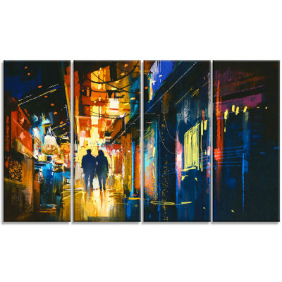 Couple Walking In An Alley Cityscape Canvas Artwork - 4 Panels