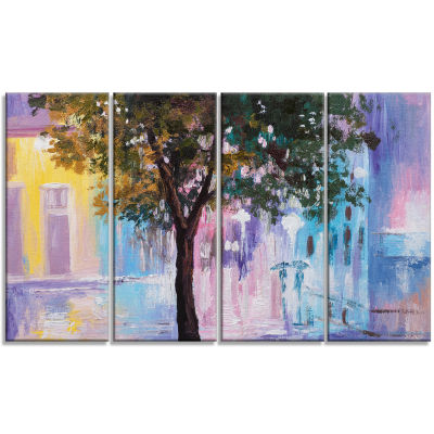 Couple Walking In Rain Landscape Canvas Print - 4Panels