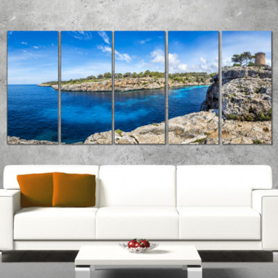 Cove Of Cala Pi Mallorca Panorama Large Seascape Art Canvas Print - 4 Panels
