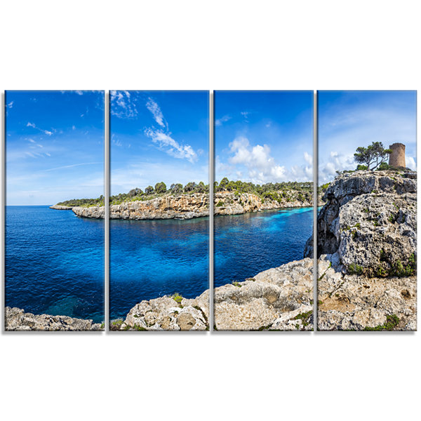 Designart Cove Of Cala Pi Mallorca Panorama LargeSeascape Art Canvas Print - 4 Panels