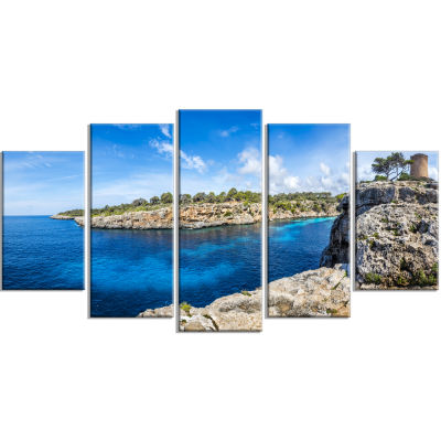 Cove Of Cala Pi Mallorca Panorama Large Seascape Art Wrapped Canvas Print - 5 Panels