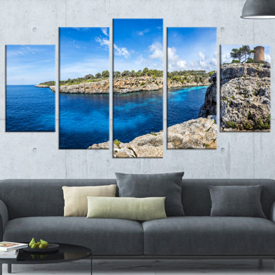 Designart Cove Of Cala Pi Mallorca Panorama LargeSeascape Art Wrapped Canvas Print - 5 Panels