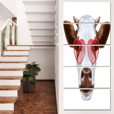 Designart Cow With Red Heart Glasses Animal CanvasArt Print- 5 Panels