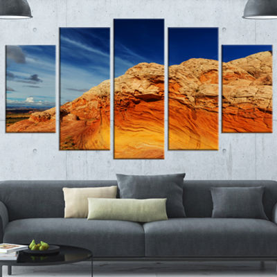 Designart Coyote Buttes Of Vermillion Cliffs Oversized Landscape Wrapped Canvas Art - 5 Panels