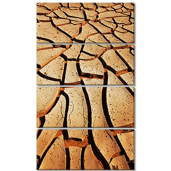 Designart Cracked Brown Drought Land African Landscape Canvas Art Print - 4 Panels