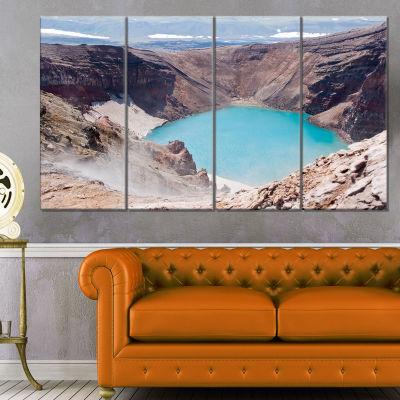 Designart Crater Of Volcano Goreliy Landscape Canvas Wall Art - 4 Panels