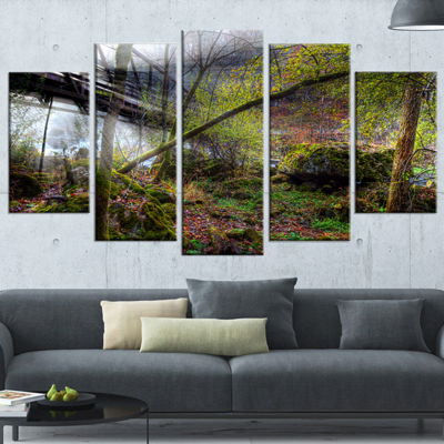 Designart Creek And Bridge With Sunbeams LandscapePhotography Canvas Print - 4 Panels