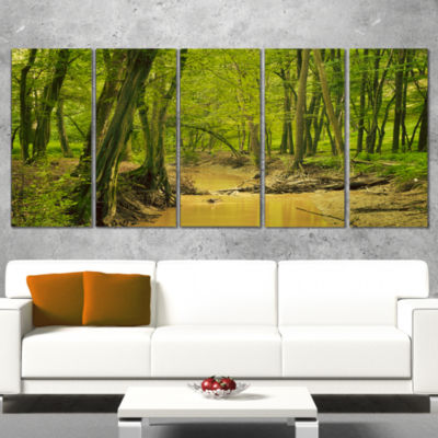 Designart Creek In Wild Green Forest Oversized Forest Wrapped Canvas Artwork - 5 Panels