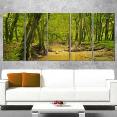 Designart Creek In Wild Green Forest Oversized Forest Canvas Artwork - 5 Panels