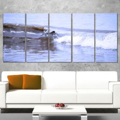 Designart Crisp Blue Waves Splashing Beach Seashore Wrapped Canvas Art Print - 5 Panels