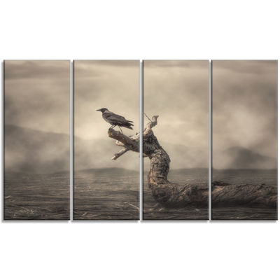 Designart Crow Perching On Tree Animal Canvas ArtPrint - 4 Panels