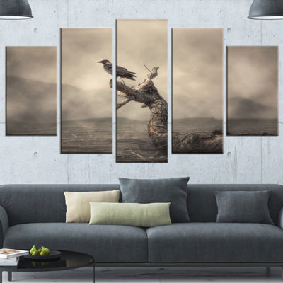Designart Crow Perching On Tree Animal Wrapped Canvas Art Print - 5 Panels