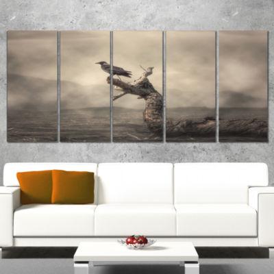 Designart Crow Perching On Tree Animal Canvas ArtPrint - 5 Panels