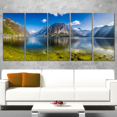 Designart Crystal Clear Mountain Lake In Alps Landscape Canvas Art Print - 4 Panels