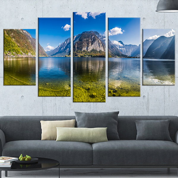 Designart Crystal Clear Mountain Lake In Alps Landscape Wrapped Canvas Art Print - 5 Panels
