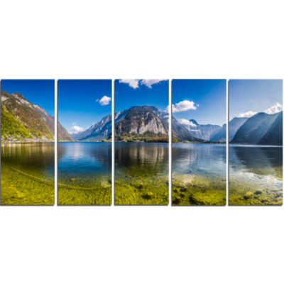 Crystal Clear Mountain Lake In Alps Landscape Canvas Art Print - 5 Panels