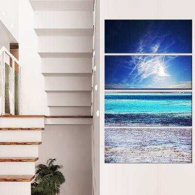 Designart Crystal Clear Sea Under Sunlight Seashore Canvas Art Print - 4 Panels