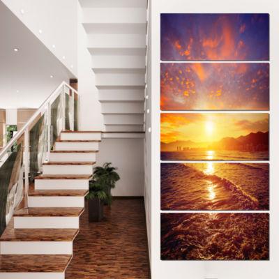 Designart Cullera Playa Los Olivos Beach Modern Beach Canvas Art Print - 5 Panels