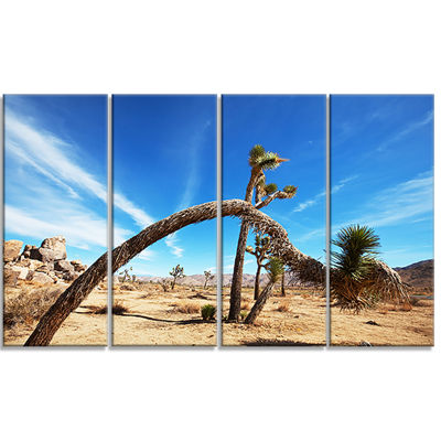 Designart Curved Joshua Tree In Desert LandscapeWall Art OnCanvas - 4 Panels