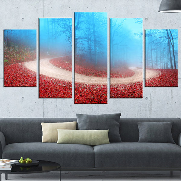 Designart Curved Road In Autumn Forest LandscapePhoto Canvas Art Print - 5 Panels