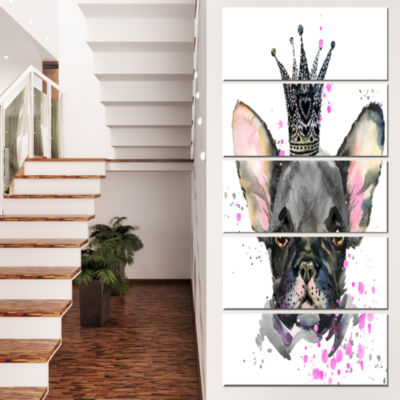 Designart Cute Black Dog With Crown Animal CanvasWall Art -5 Panels