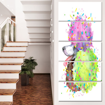 Designart Cute Brown Dog With Color Spheres Contemporary Animal Art Canvas - 4 Panels