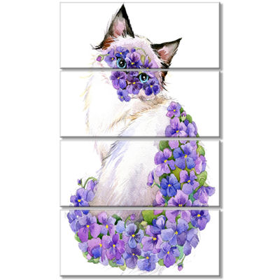 Designart Cute Cat With Blue Flowers Animal CanvasArt Print- 4 Panels