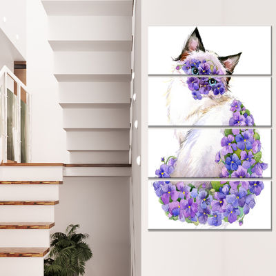 Cute Cat With Blue Flowers Animal Canvas Art Print- 4 Panels