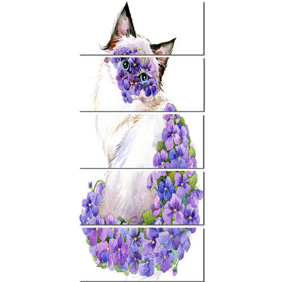 Designart Cute Cat With Blue Flowers Animal CanvasArt Print- 5 Panels