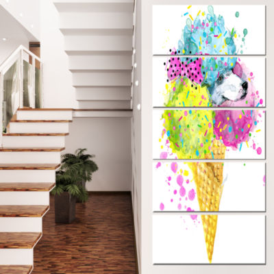Designart Cute Colorful Puppy Dog Animal Canvas Wall Art - 5 Panels
