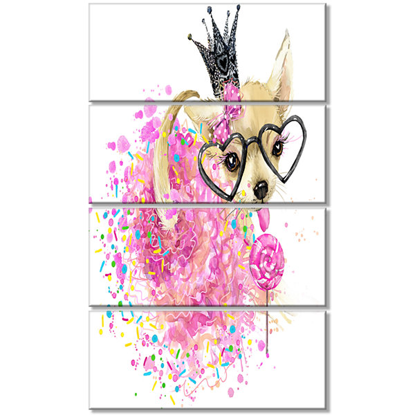 Designart Cute Dog With Crown And Glasses Contemporary Animal Art Canvas - 4 Panels