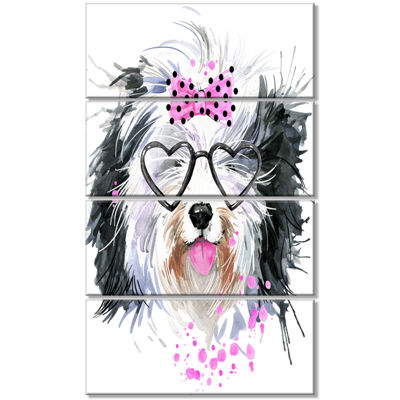 Designart Cute Dog With Heart Glasses ContemporaryAnimal Art Canvas - 4 Panels
