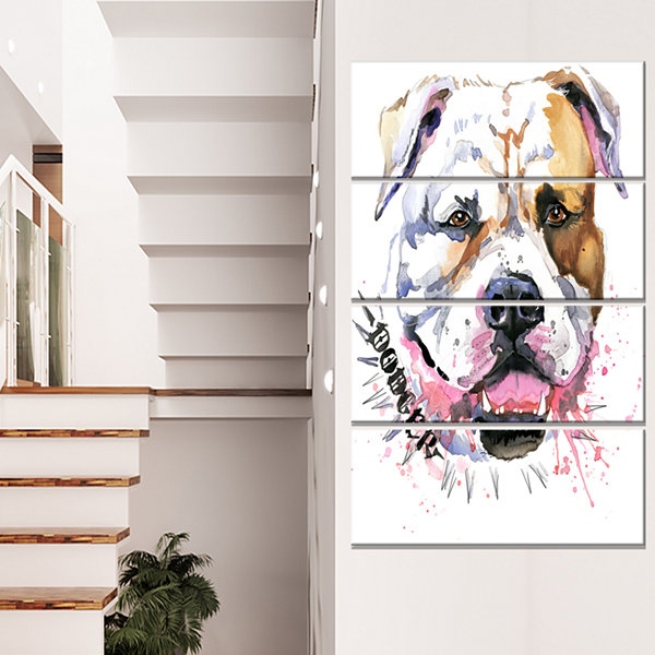 Designart Cute Dog With Open Mouth Animal CanvasWall Art -4 Panels