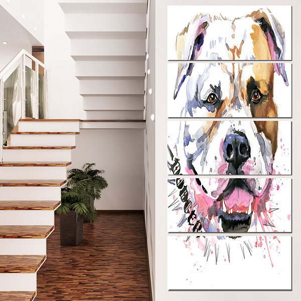 Designart Cute Dog With Open Mouth Animal CanvasWall Art -5 Panels