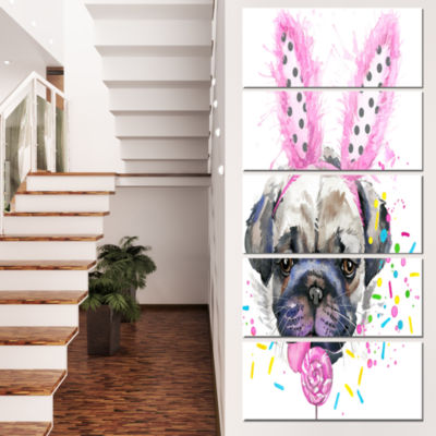 Designart Cute Dog With Pink Feather Hat Contemporary AnimalArt Canvas - 5 Panels