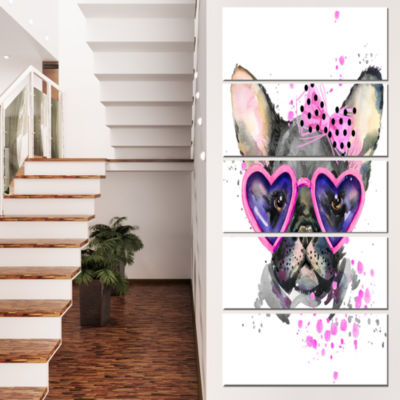 Designart Cute Dog With Pink Glasses Animal CanvasWall Art- 5 Panels