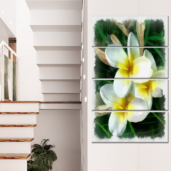 Designart Cute Frangipani Flowers Watercolor Floral Canvas Art Print - 4 Panels