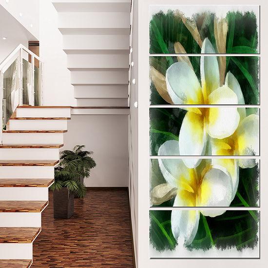 Designart Cute Frangipani Flowers Watercolor Floral Canvas Art Print - 5 Panels