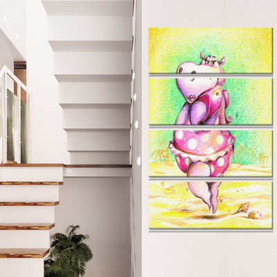Designart Cute Hippo Goes Swimming Abstract CanvasArt Print- 4 Panels