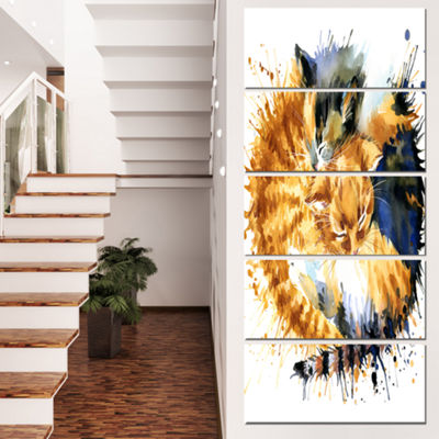 Designart Cute Kitten Graphical Illustration Animal Canvas Wall Art - 5 Panels