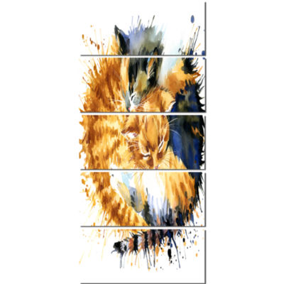 Cute Kitten Graphical Illustration Animal Canvas Wall Art - 5 Panels