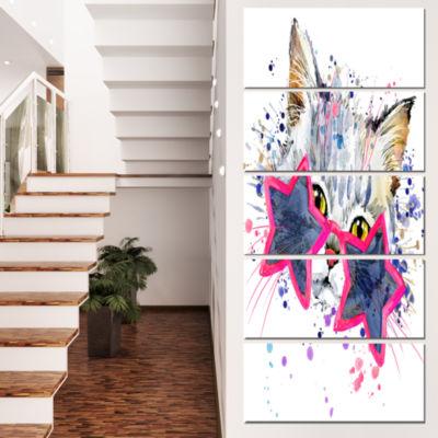 Designart Cute Kitten With Blue Stars Animal Canvas Wall Art- 4 Panels